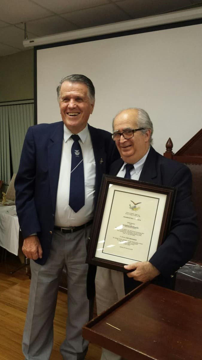 "THE CHAPTER ""ANATOLE"" OF AHEPA HONORED JOHN THEODORIDIS AND ANGELO MANDATIS"