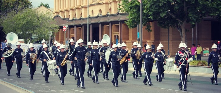 SA Police Band representing Australia at Queen's birthday event