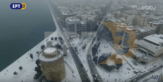 AMAZING CAMERA SHOT TAKEN DRONE FROM THE SNOWY THESSALONIKI