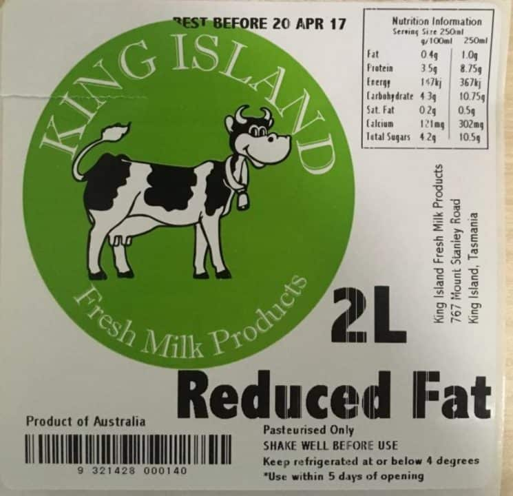BJ & VS Brewster, trading as King Island Fresh Milk Products — King Island Fresh Milk Products Reduced Fat Milk and King Island Fresh Milk Products Cream